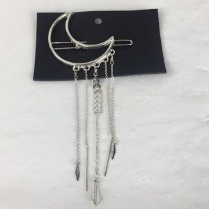 Free People hair clip silver moon new